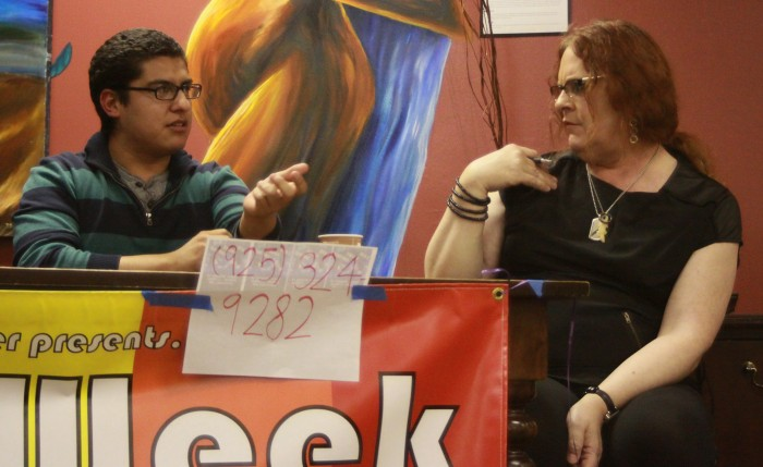 Photograph by Norma Loya Student Jose Mendoza and Chico community member Danielle Koss explain the term