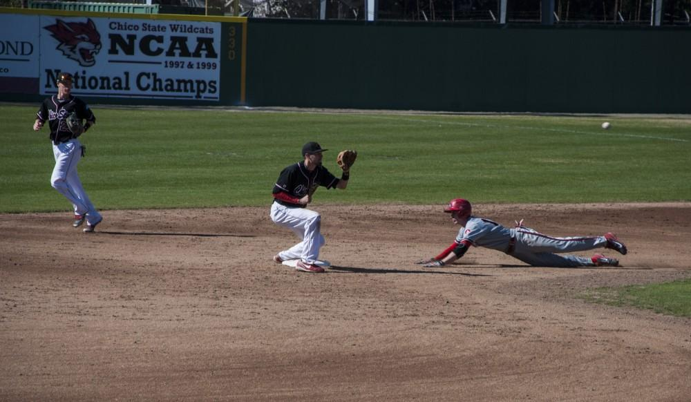 A throw down from the catcher gets Chico State a beneficial out.Photo credit: Alex Boesch