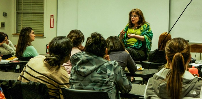 Debbie Devine, a local marriage and family therapist, answered questions about eating disorders for Chico State's Embodied club. Photo credit: Chelsea Jeffers