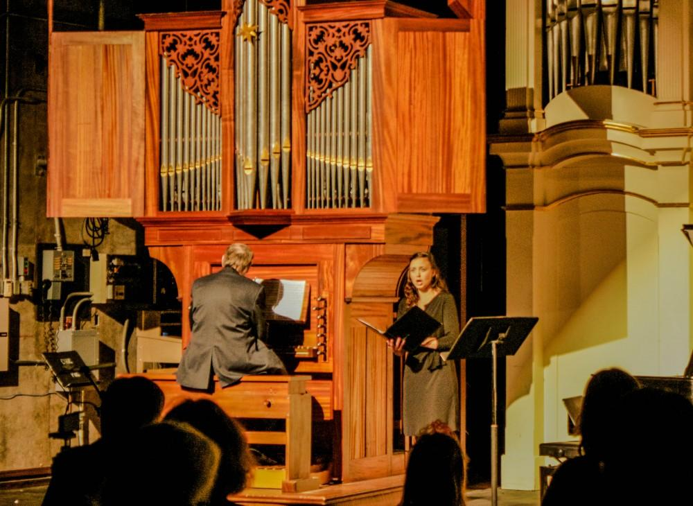 Danielle Silveira singing soprano and David Rothe playing the organ at the Bach Festival. Photo credit: Chelsea Jeffers