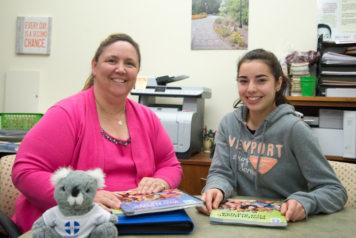 CADEC program director Trisha Seastrom looks over training materials with Sofia Rodriguez, a Chico State student and peer educator.Photo credit: Matthew Vacca