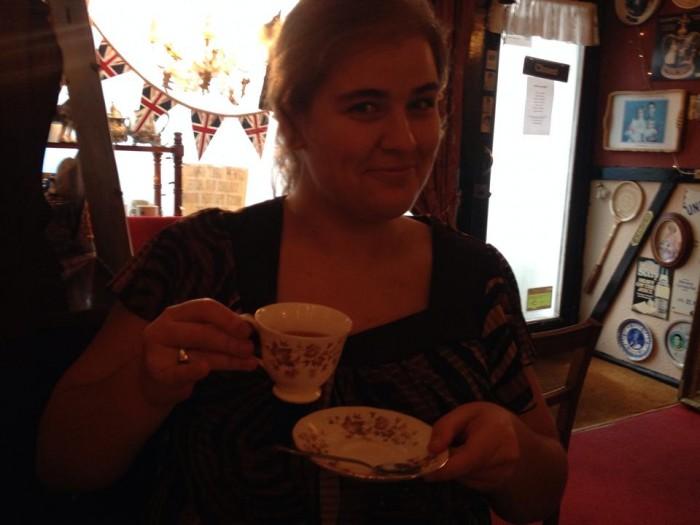 Michelle Manera stops at The Tea Cozy in Brighton, England. Photo courtesy of Michelle Manera.