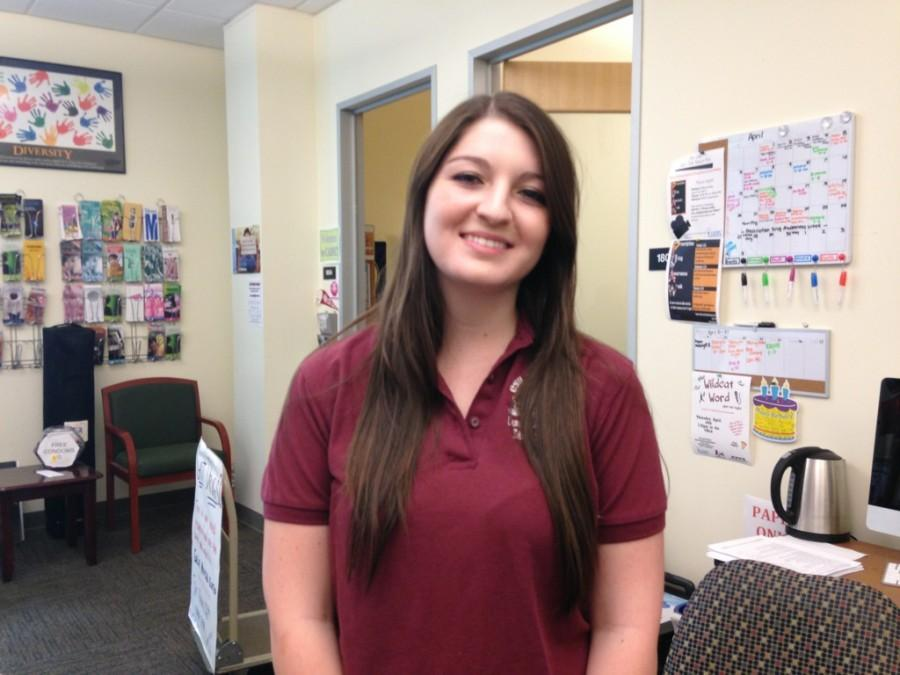 Caroline Galbraith, a sophomore psychology major, is a peer educator and social media intern at the Campus Alcohol and Drug Education Center. Photo credit: Dominique Diaz