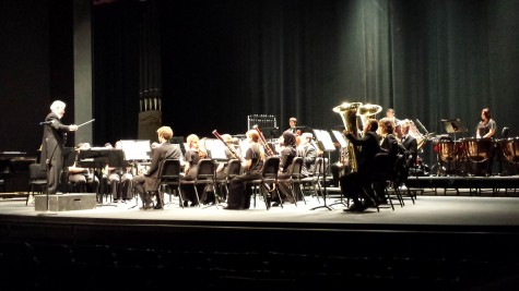 "Symphonic Winds on stage for the ""Band-ology"" performance Saturday night in Harlen Adams Theatre. Photo credit: David Kahn"