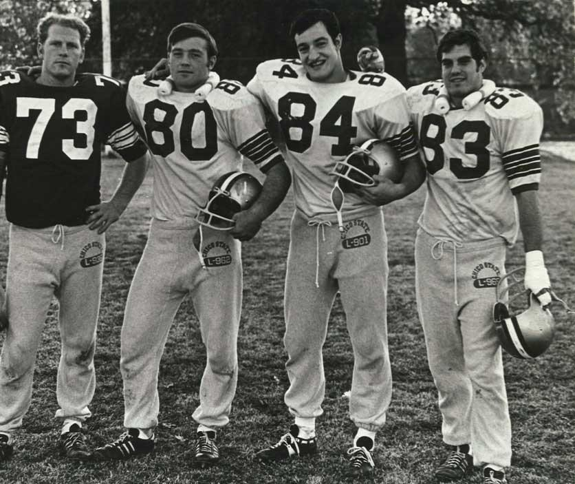 From left to right: Gene Fournier, Clint Lancaster, Tony Bertuca and Doug Guillon smile after practice during the 1981 season. Photo courtesy of Doug Guillon.
