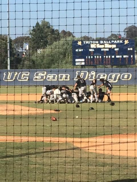 The Chico State baseball team dog piles after winning the NCAA West Region Championship. Photo courtesy of Brooke Langeloh.