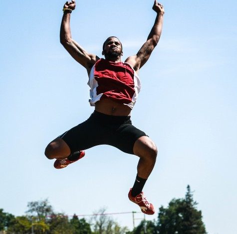 Chico State long jumper leaps through the air earlier this season Photo credit: Emily Teague
