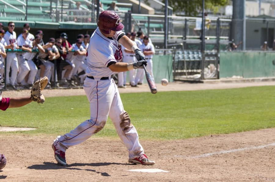 Chico State catcher Peter Miller connects during a game earlier this year. Photo credit: Grant Mahan
