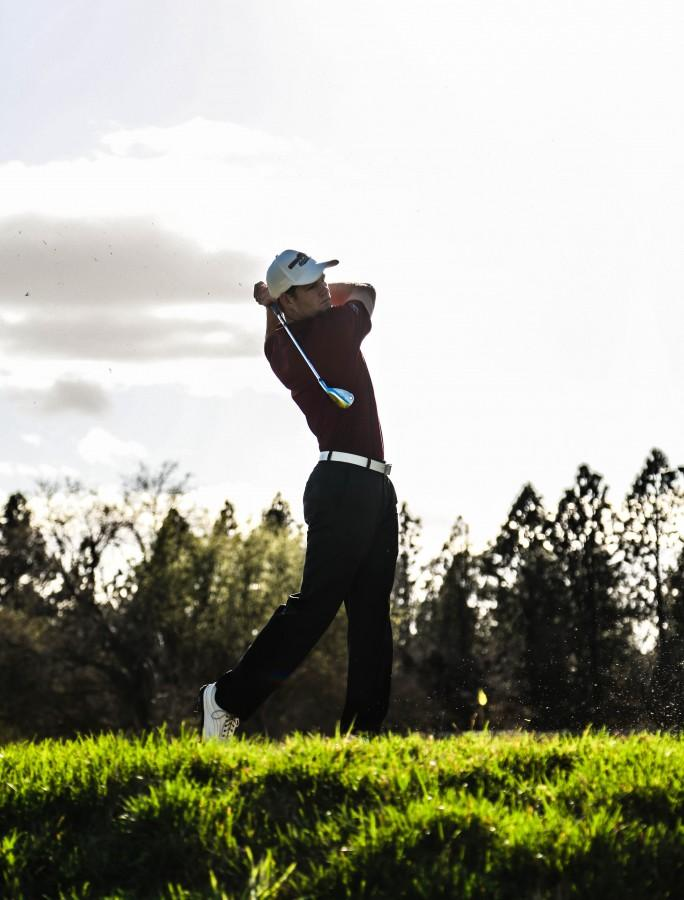 Chico State golfer Lee Gearhart swings earlier this year. Photo credit: Emily Teague