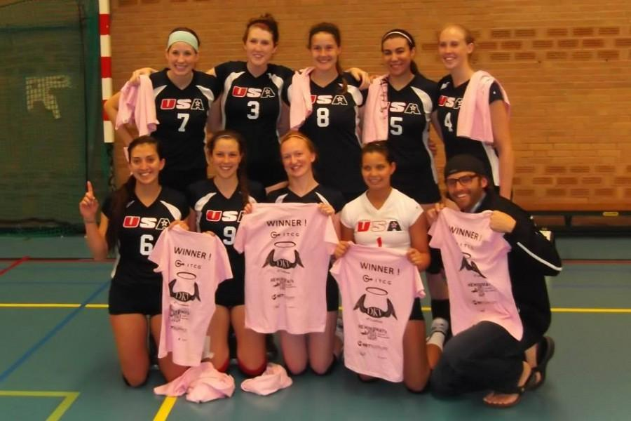 Former Chico State volleyball player Sable Villaescusa (No. 9, bottom row second from left) spent time playing for a USA amateur team after her days as a Wildcat. Photo courtesy Sable Villaescusa