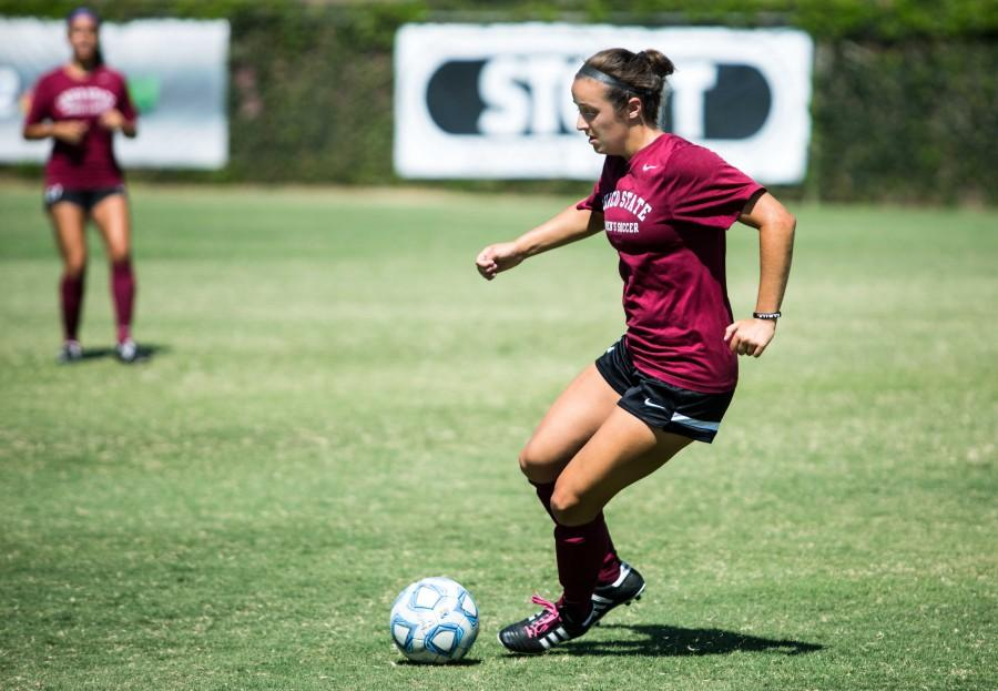 Sophomore midfielder Emily Shleppey works out in practice earlier in the season. Chico State beat Saint Martin's 3-1 on Sunday. Photo credit: Emily Teague