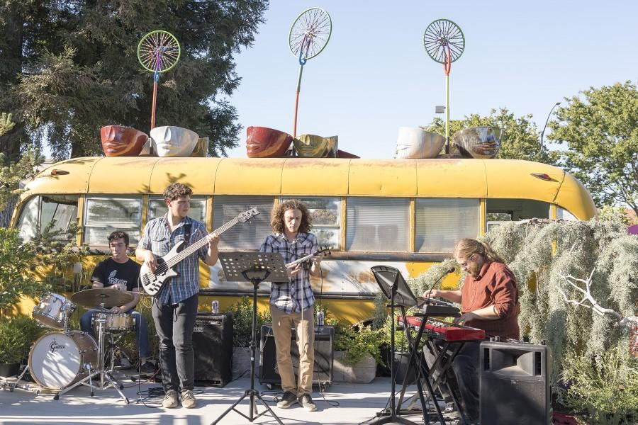 Local jazz quartet Bogg performing at Magnolia Gift & Garden for the Great Garden Art Weekend on Saturday. Photo credit: Matthew Vacca