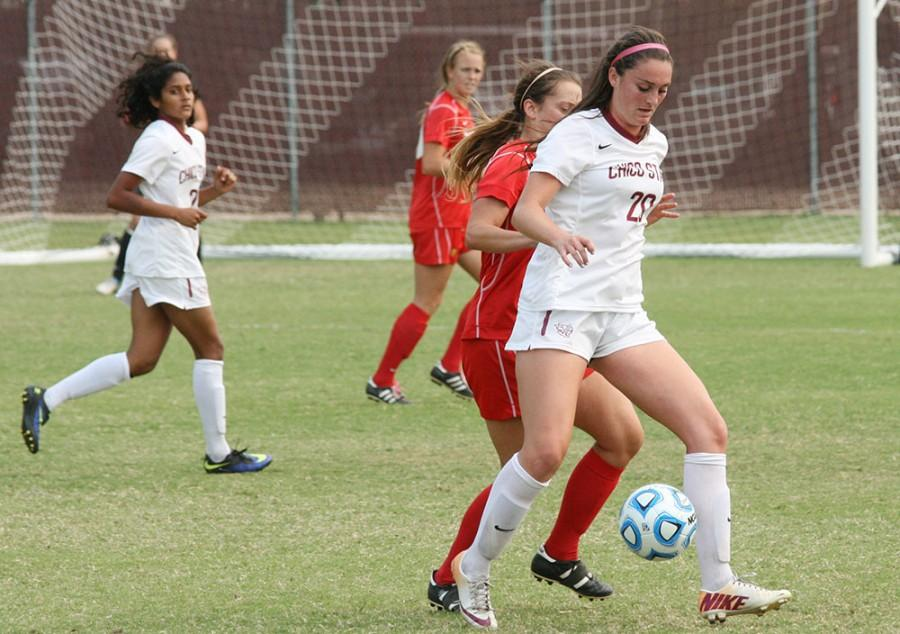 Forward Sarah Andersen with the ball at Wildcat Stadium earlier in the season. Chico State beat Dominguez Hills 2-0 on Friday. Photo credit: John Domogma