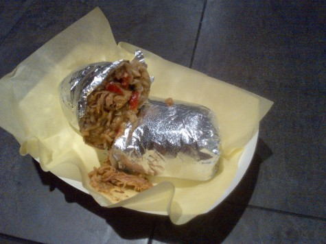 A regular burrito with chicken from Bulldog Taqueria on West 2nd Street. Photo credit: Christina Saschin