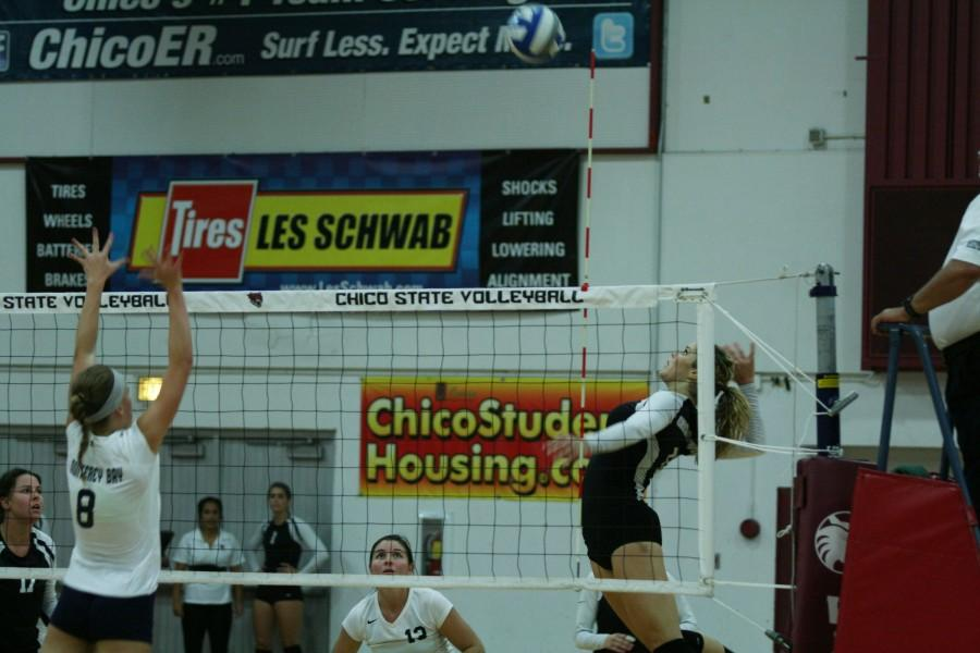 Shannon Boling goes for a well-orchestrated play to score against Cal State Monterrey Bay at Acker Gymnasium on Saturday, September 20, 2014. Photo credit: John Domogma