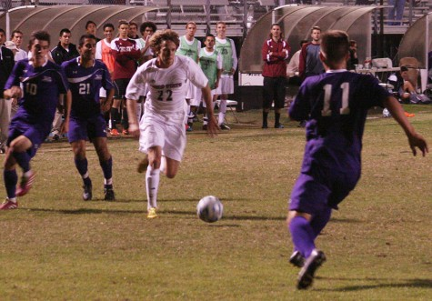 Wildcat Defender Sean Gallagher attempts to play the ball in San Francisco State territory Friday October 24, 2014. Photo credit: John Domogma
