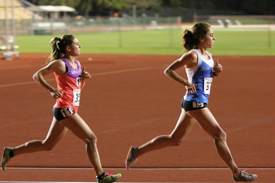 Former Chico State distance runner Kara Lubieniecki, left, competes in a race. Photo Courtesy Gary Towne