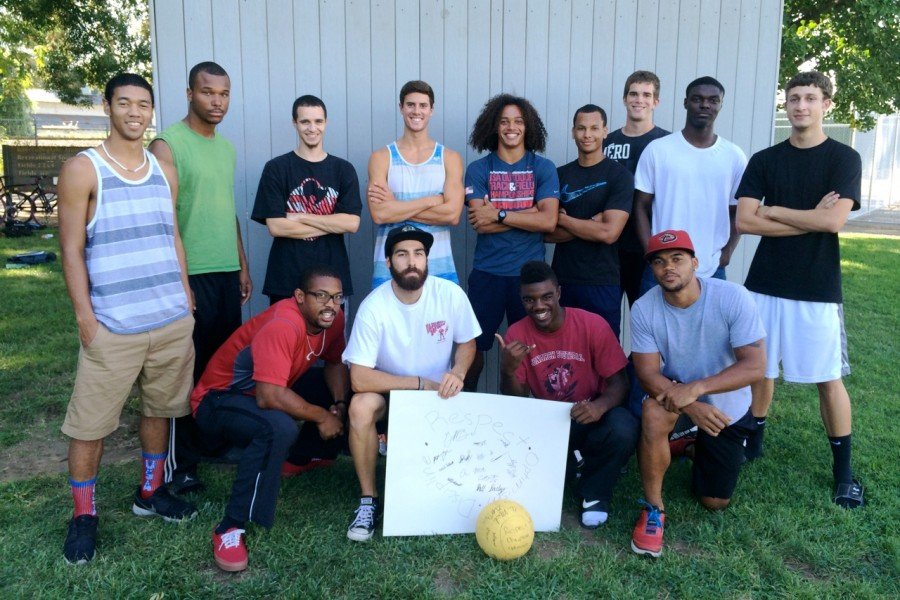 Thirteen of the 15 incoming recruits for the Chico State men's track and field team. In the middle of them is the new athlete's mantra: respect, optimism and discipline. Photo Courtesy Oliver Hanf