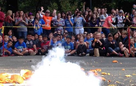 Physics students drop pumpkins to educate kids