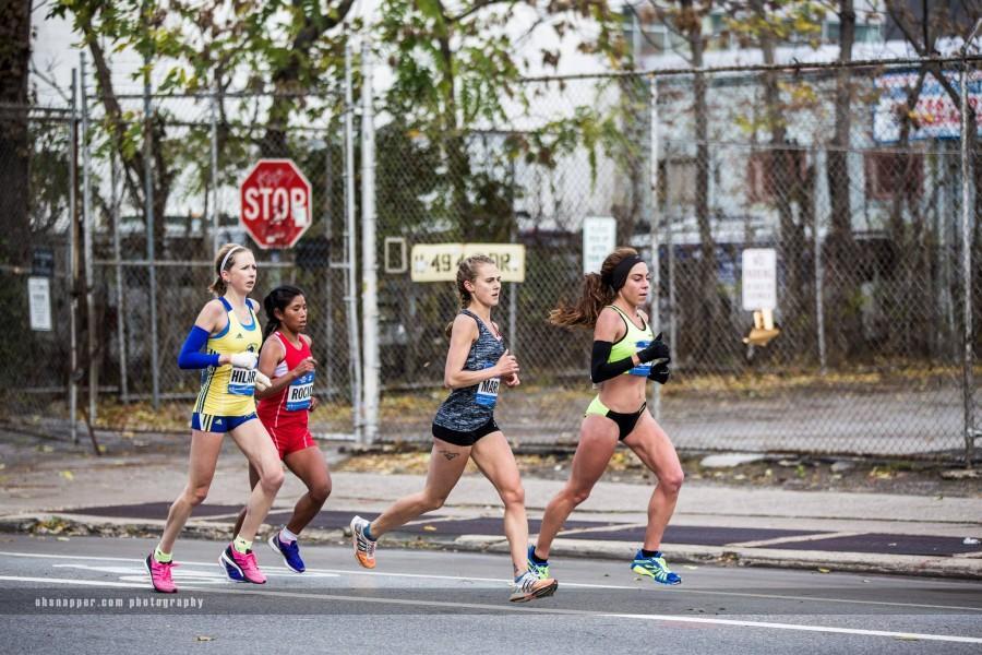 Former Chico State distance runner Alia Gray, far right, competes in the New York City Marathon. Photo courtesy of Alia Gray