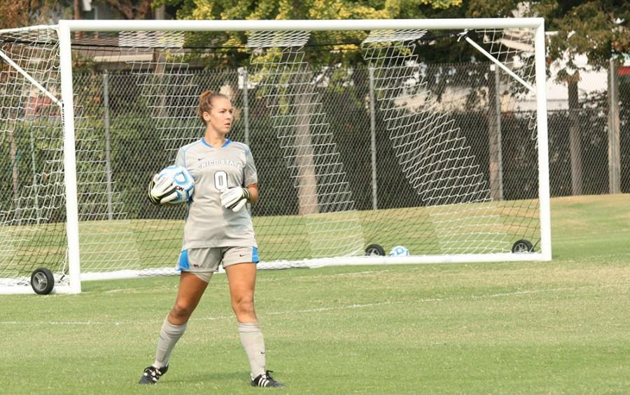 Chico State goalkeeper Brianna Furner in a match earlier this season. Photo credit: John Domogma