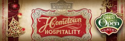 The Hometown Holiday Hospitality will have many downtown businesses open later than usual. Photo courtesy of Downtown Chico Business Association.