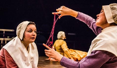 Sister Jane (Sarah Kuhn) teaches Sister Izzy (Brittney Nusbaum) how to make Jacob's Ladder in a scene from