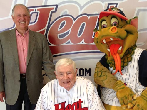 Chico Heat co-owners Pat Gillick, left, and Steve Nettleton, center, with Heat mascot Heater the Dragon. Photo courtesy of Chico Heat.