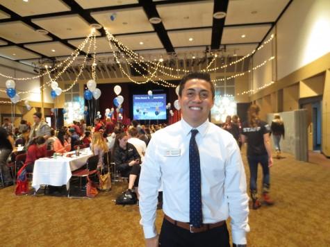 Diego Martinez, junior organizational communication major, at CAVE's Winter Wonderland recognition event. Photo credit: Taylor Sinclair