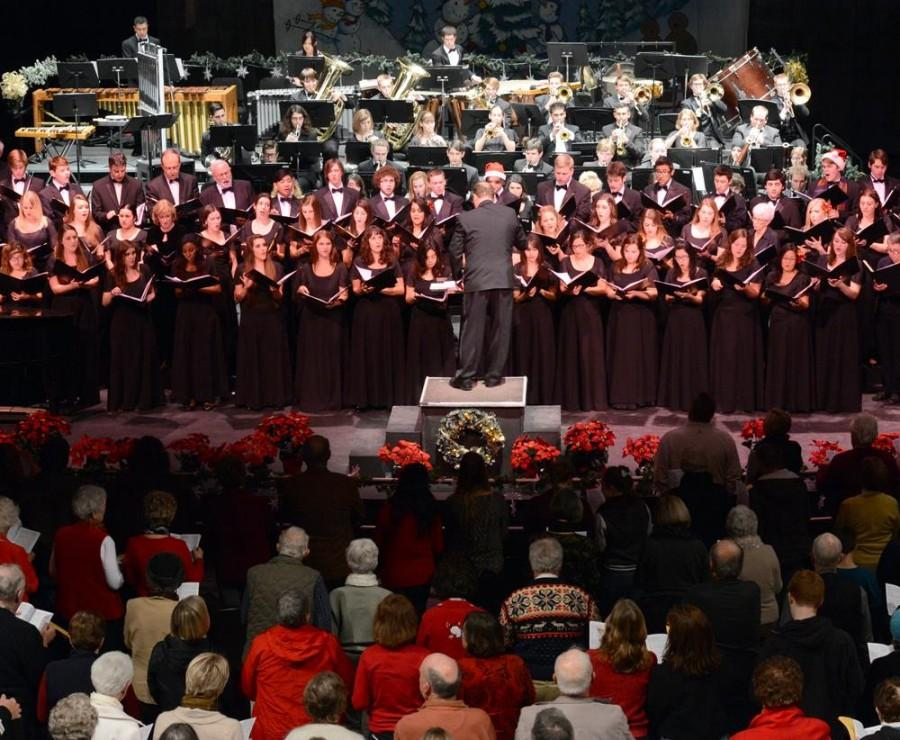 Chico State's Acappella Choir and Symphonic Band perform at last year's Glorious Sounds of the Season concert. The opening night performance begins 7:30 p.m. Dec. 5 at Harlen Adams Theatre. Photo courtesy of School of the Arts.