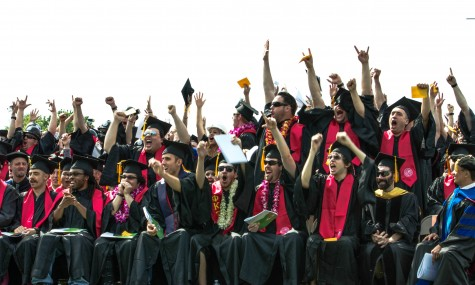 Chico State engineer students cannot contain their excitement to receive their diplomas at spring 2014 graduation ceremony. Photo credit: Chelsea Jeffers
