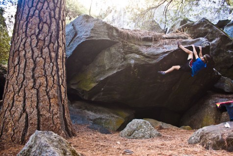 Tim Whitaker, senior computer science major, boulder climbs in the outdoors. Photo courtesy Tim Whitaker.