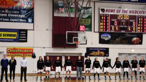 Chico State women's basketball team lining up for the national anthem. Photo credit: George Johnston