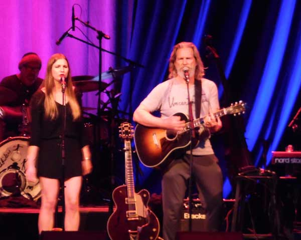Jeff Bridges performs with his band the Abiders and his daughter Jessie Bridges during the encore on Saturday night at Laxson Auditorium. Bridges welcomes his cult following as