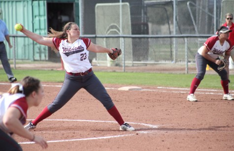 First-year pitcher Haley Gilham launches the ball on the Chico State softball field in a game against University of Hawaii on Feb. 12. Photo credit: John Domogma