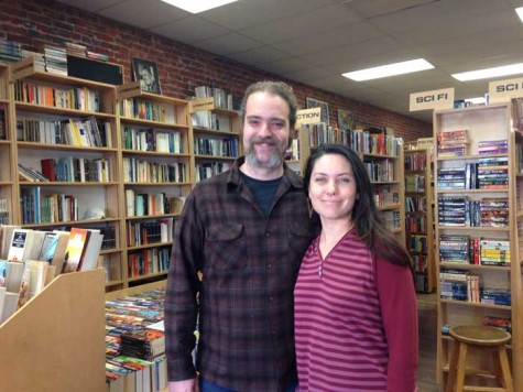 Josh Mills and Muir Hughes, owners of The Bookstore in downtown Chico, were able to buy the business in 2013 after raising more than $35,000 through crowdfunding on the Internet. Hughes said they both grew up in Chico and have a close connection to the community. Photo credit: Alisa Thorsen