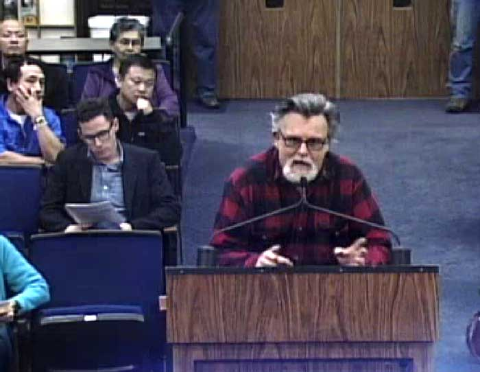 Chapmantown resident Bill Story advocates for postponing the decision to annex the neighborhood into Chico at the City Council meeting on Feb. 17. Photo credit: William Rein