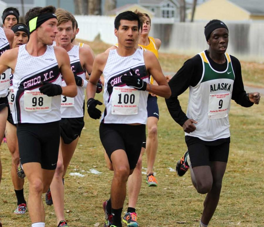 Johnny Sanchez, center, competes at a cross-country meet. Sanchez said that the cheering and energy from the crowd at a meet helps him push harder to win. Photo courtesy of Johnny Sanchez.