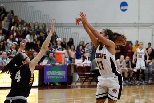 Chico State faces off against Cal State L.A. Friday Jan. 30 in Acker gym. Chico State's Hannah Womack goes for the sho00t to get Chico State an early lead. Photo credit: Malik Payton