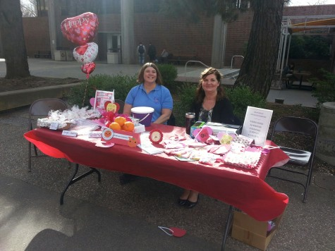 Pam Morrell and Lori Adrian are on table duty selling valentines and desserts to raise money for Relay For Life Photo credit: Brittany Mcclintock
