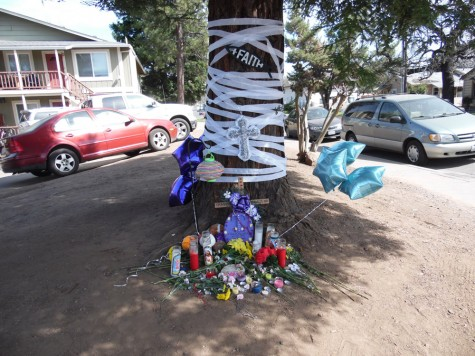 An impromptu vigil at the location where 22-year-old Chico State student Travis Powell was shot and killed early Saturday morning. Photo credit: George Johnston