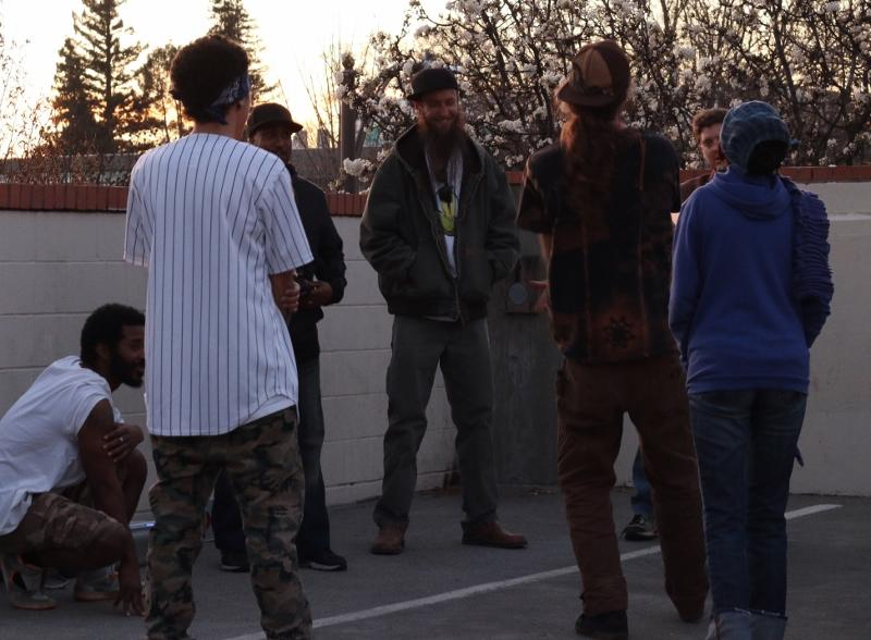 The Bay Area Cypher Crew kicking flows on a parking garage on a pleasant Thursday evening in Chico. Photo courtesy of Kiana Abenoja.