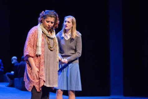 Ismene (right, Veronica Hodur) begs Antigone (Krasel Morales) not to break the law in Chico State's School of the Arts production of