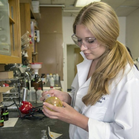 Natalie Holmberg-Douglas,  a senior biochemistry and animal science major, is working with multiple colleges at Chico State to work with animals and research cures for cancer. Photo courtesy of Natalie Holmberg-Douglas.