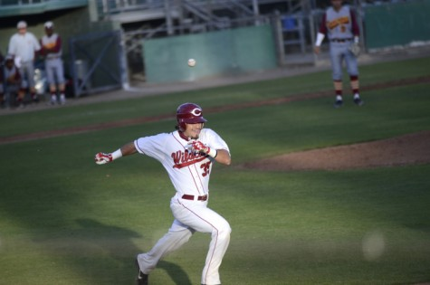 Junior outfielder Peter Lecce running to first base to beat Cal State Dominguez Hills on April 11. Photo credit: Ryan Pressey
