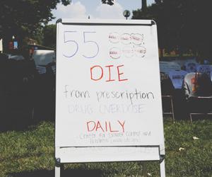 Prescription drug awareness week display on campus