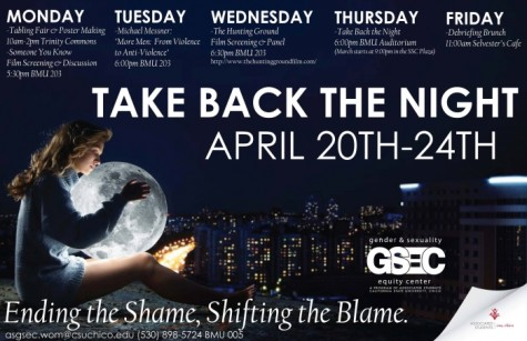 The 2015 Take Back the Night flyer. Photo courtesy of the Gender and Sexuality Equity Center