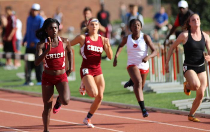 Chico State's senior Ashely Jones finishes in first place in the 100 meter dash finals Saturday at the Twilight and Distance Carnival held at Chico State. closely behind her is junior Aja Erskine. Photo credit: Malik Payton