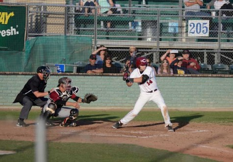 Senior outfielder Connor Huesers batting against Cal State Dominguez Hills on Feb. 10. Photo credit: Ryan Pressey