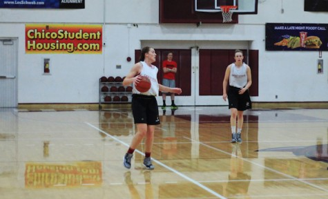 Wildcat Brooke Bowen, left, practices at Acker Gym in preparation for an upcoming game. Bowen said that excessive alcohol intake can be a big barrier for students trying to stay in shape. Photo credit: Caio Calado